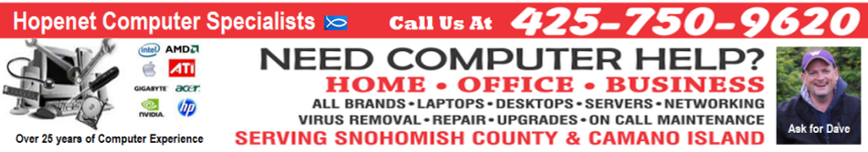 Snohomish County, Marysville and Camano Island Computer Repair Specialists
